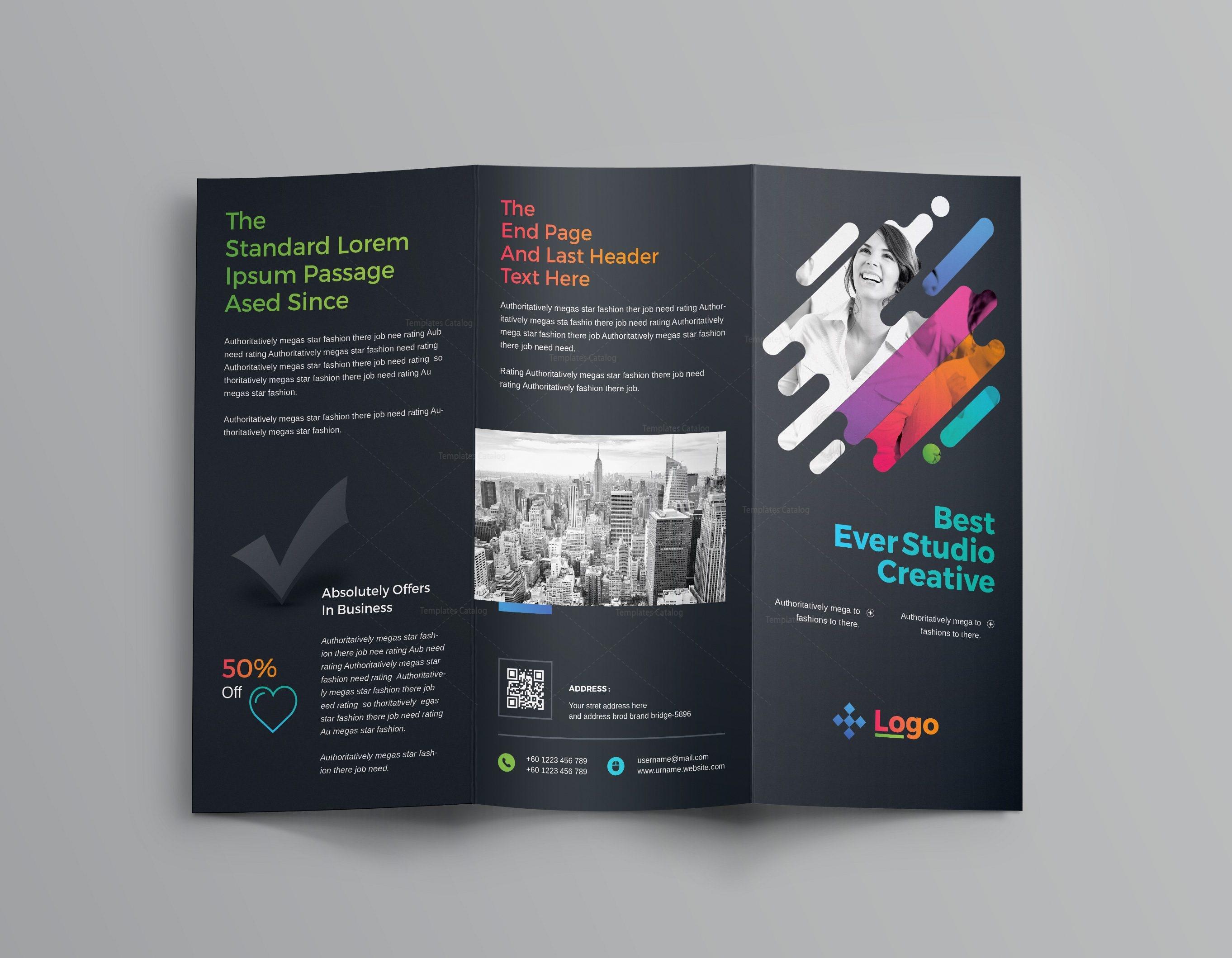 colorful professional tri-fold brochure template 001204