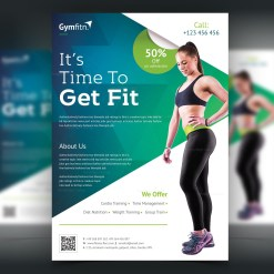 Modern Professional Fitness Center Flyer Template