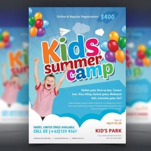 Excellent Kids Summer Camp Flyer Design Template