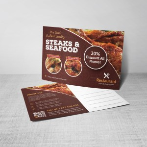 Luxury Restaurant Postcard Design Template