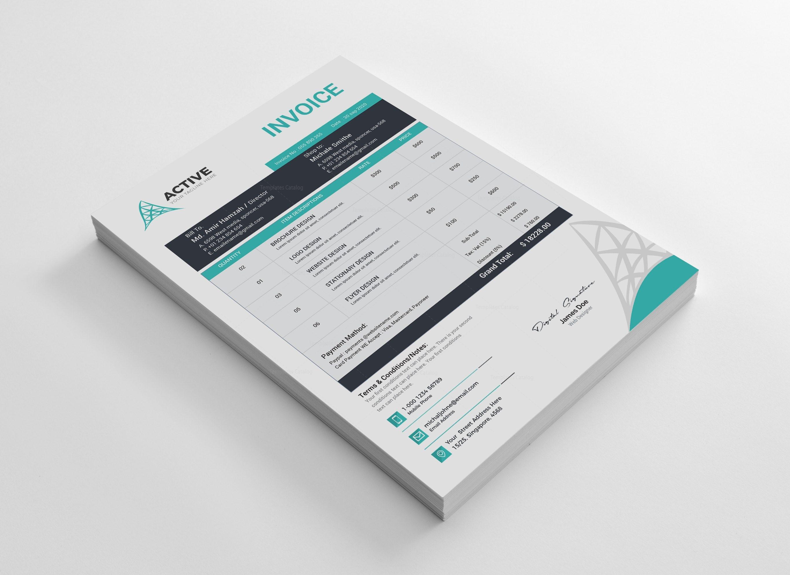 Active Professional Invoice Design Template
