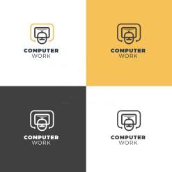 Computer Elegant Logo Design Template