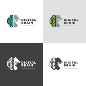 Digital Brain Creative Logo Design Template