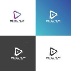 Media Player Professional Logo Design Template