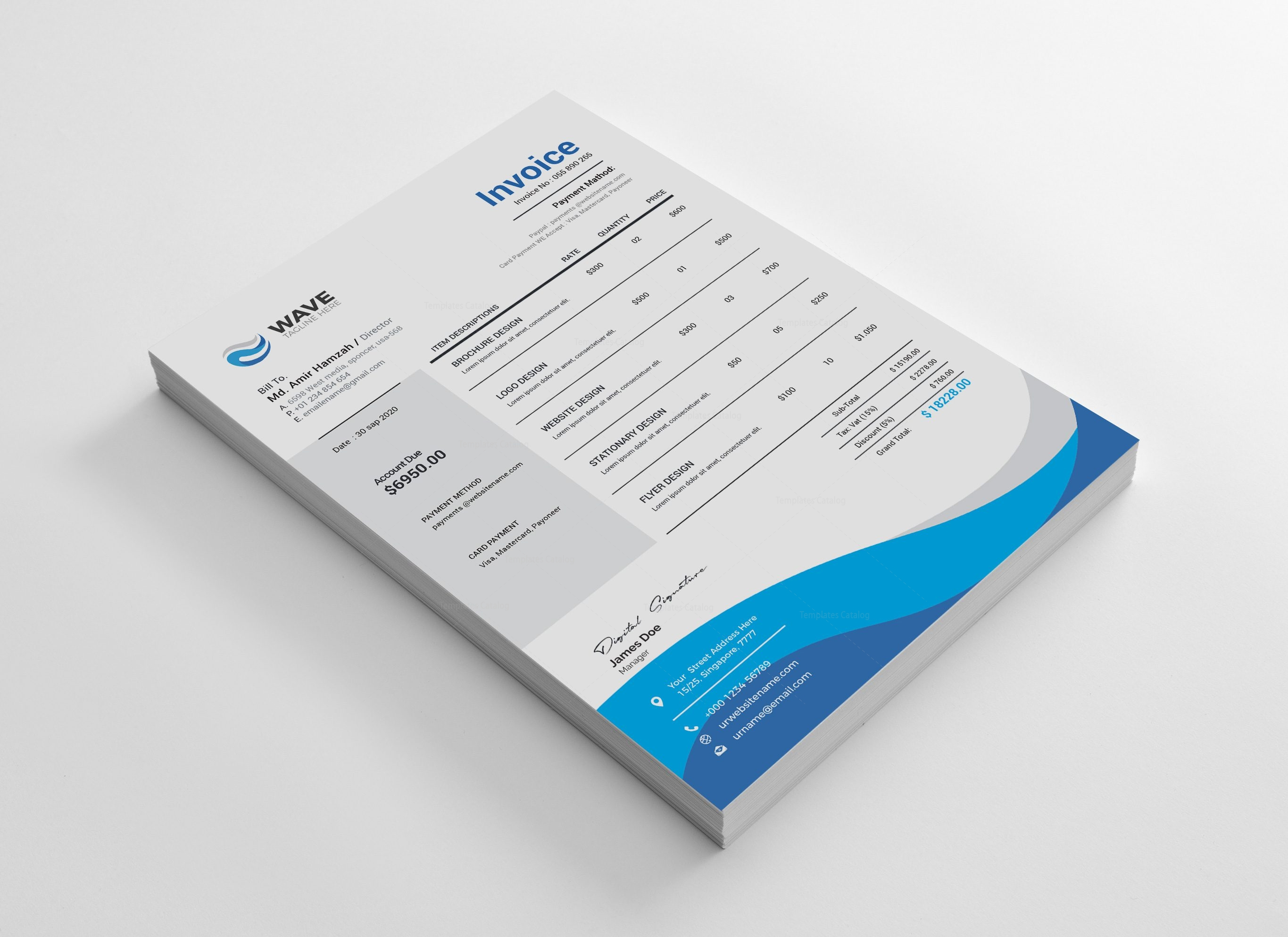 Wave Professional Invoice Design Template