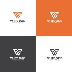 White Cube Logo Design Template