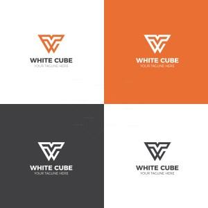 White Cube Logo Design Template