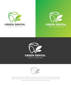 Green Dental Stylish Logo Design Template