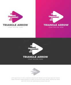 Triangle Arrow Stylish Logo Design Template