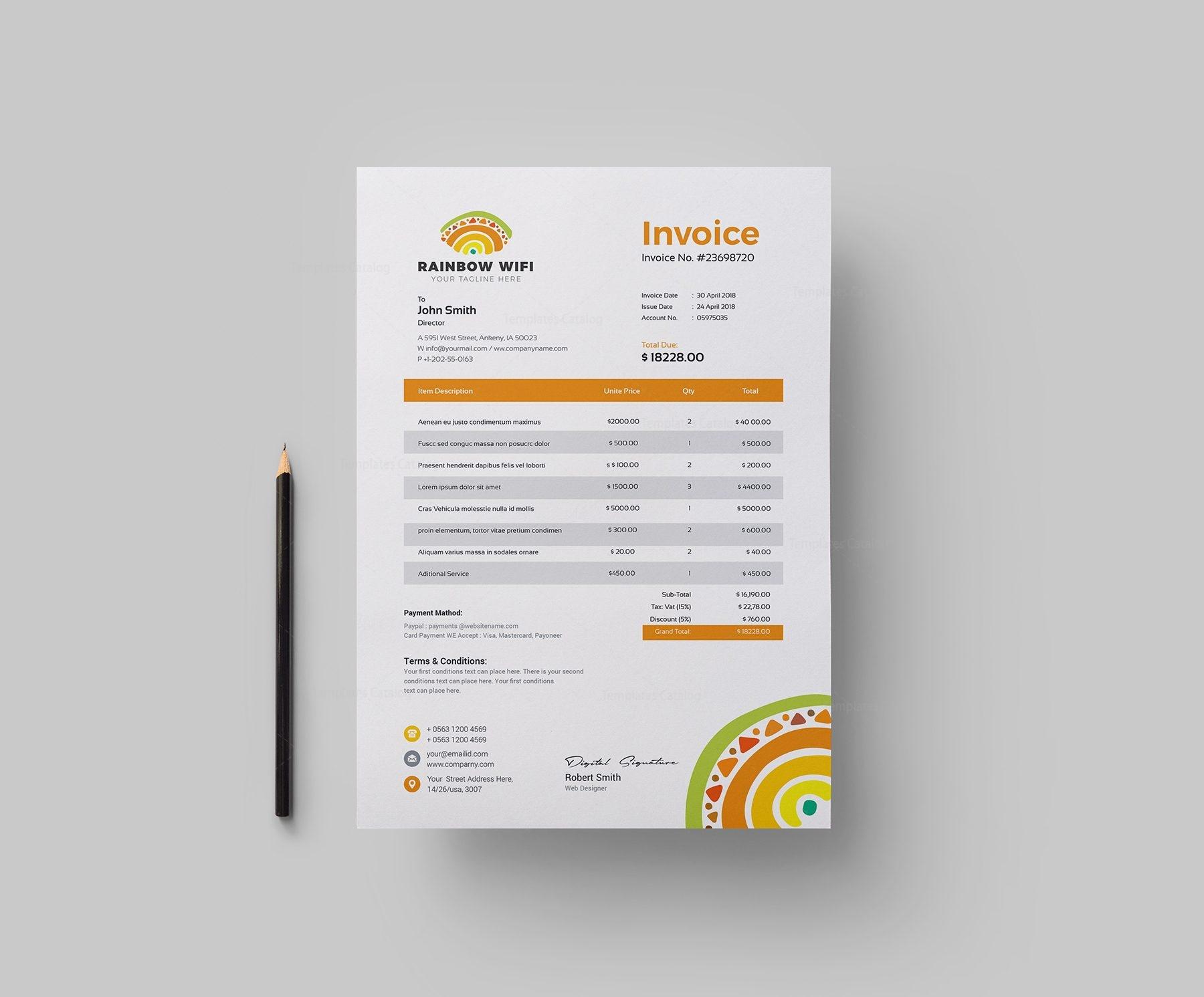 Wifi Corporate Invoice Design Template 002155 Template Catalog