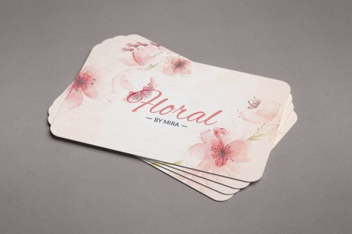 Pink Floral Business Card Design