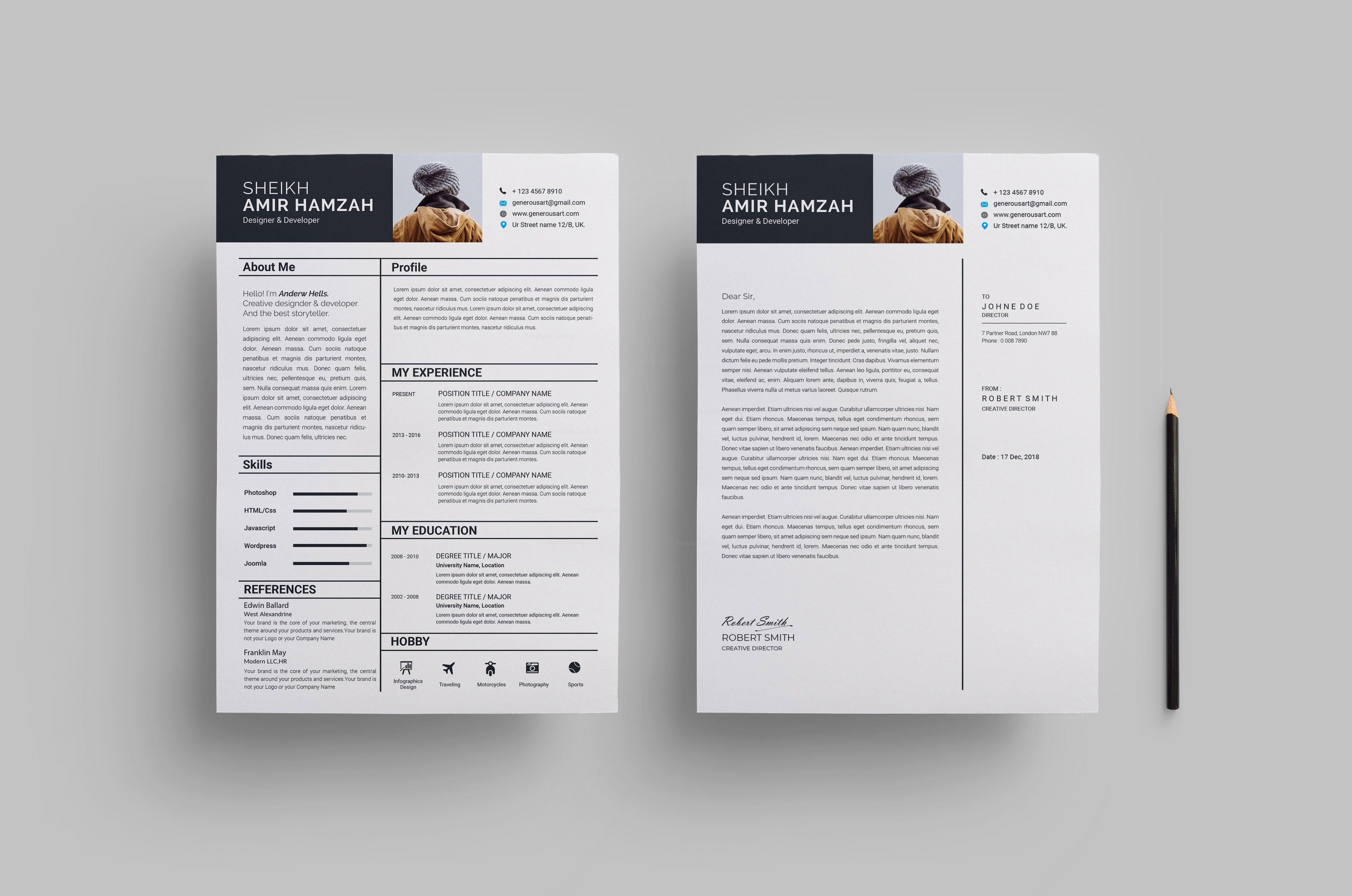 Outstanding Resume Design Template 002798
