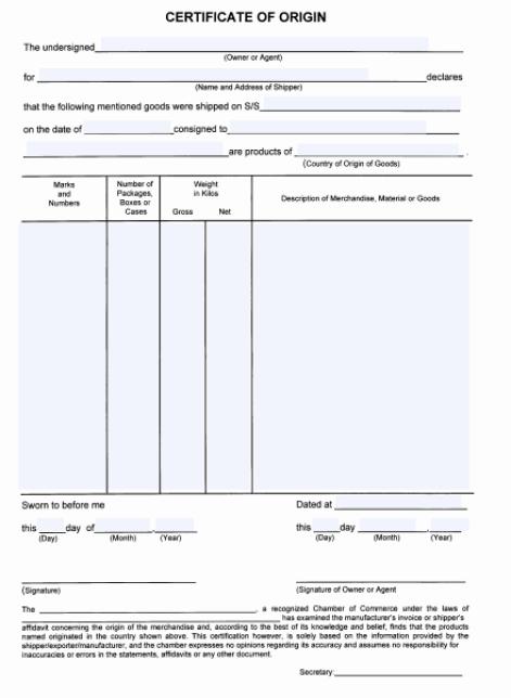 Certificate of Origin Template 29641