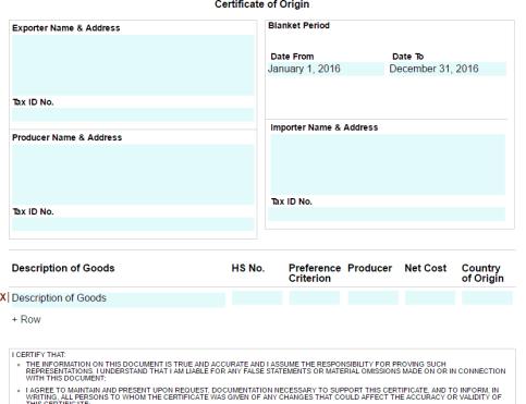 Certificate of Origin Template 5941