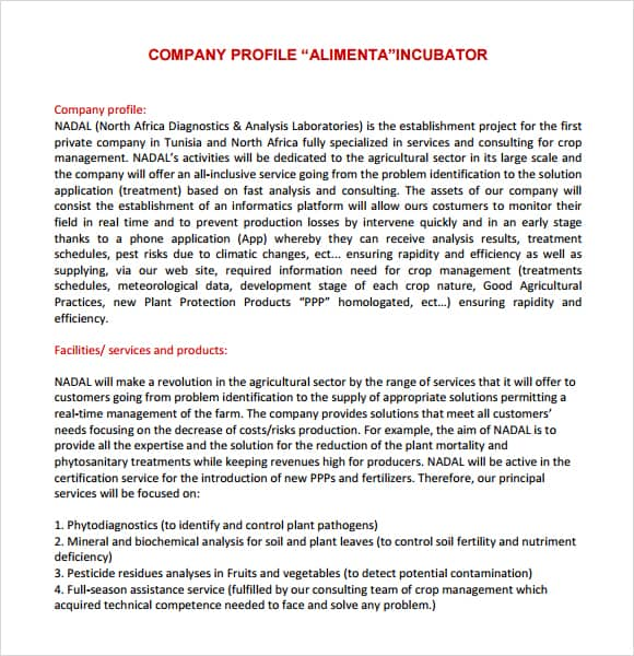 company profile example