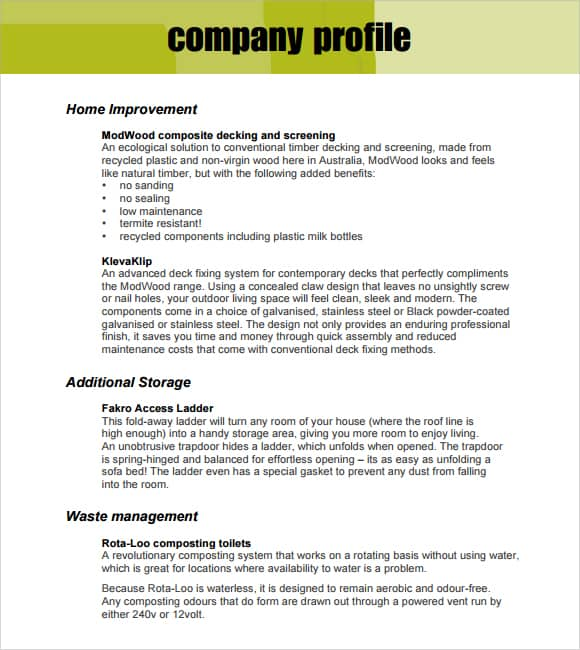 Awesome Company Profile Example 2641 Inside Company Description Template