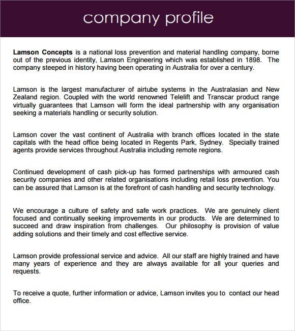 Company Profile Example 69741 Clip
