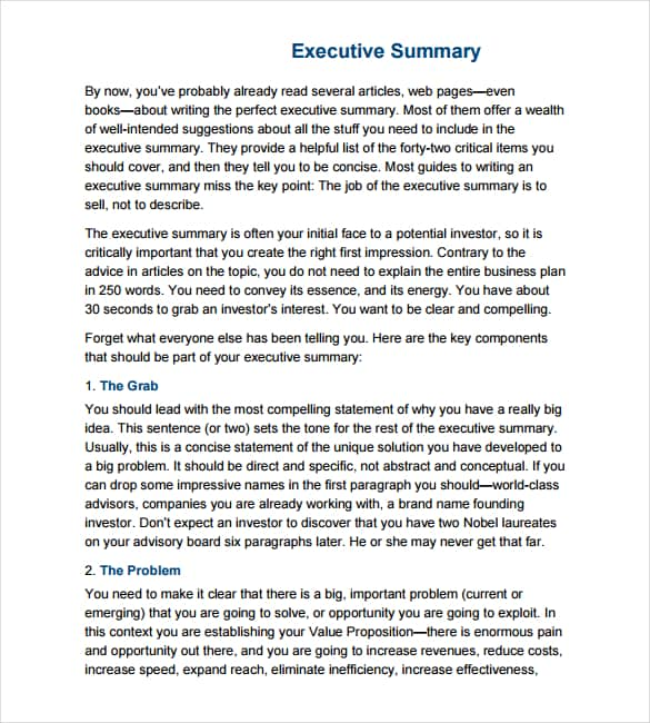 Executive Summary Sample Executive Summary Fbfc Inc One Line Pitch