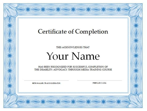 Free Certificate Of Completion Template 6941  Certification Of Completion Template