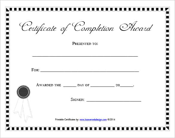 Free Certificate Of Completion Template 761  Free Blank Printable Certificates