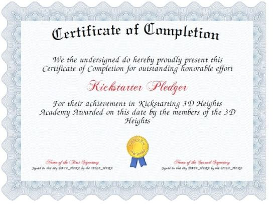 Free Certificate of Completion example 12.461