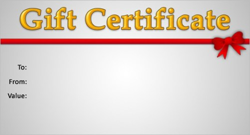 Free Gift Certificate sample 5941