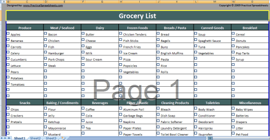 Grocery list Template 3941