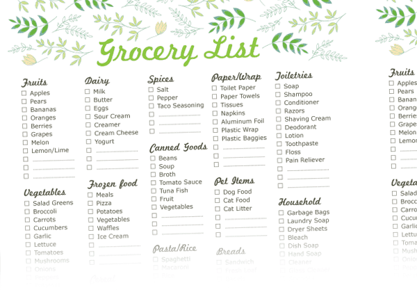 10+ Grocery List Templates | Free Printable Word, Excel & PDF