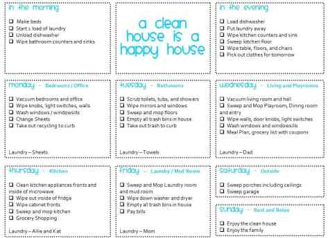 House Cleaning List example 17941