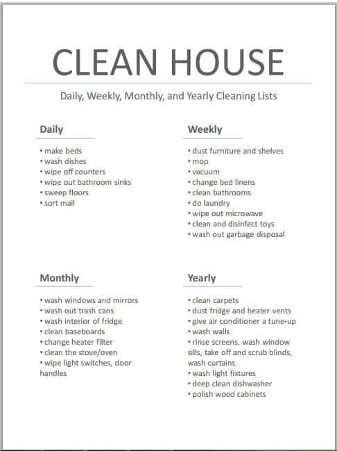 House Cleaning List example 33461