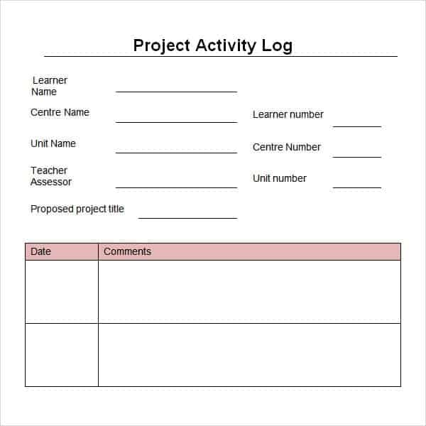Free Project Log Templates In Word Excel