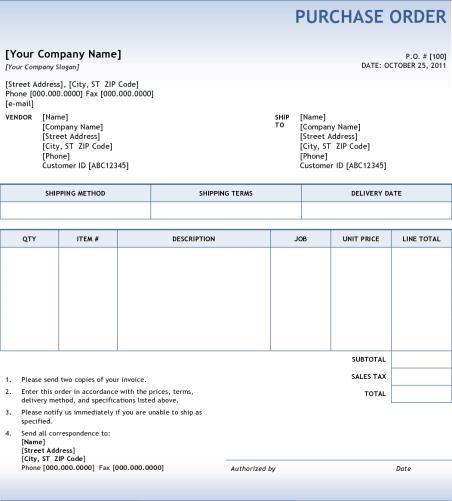 Purchase Order sample 1641