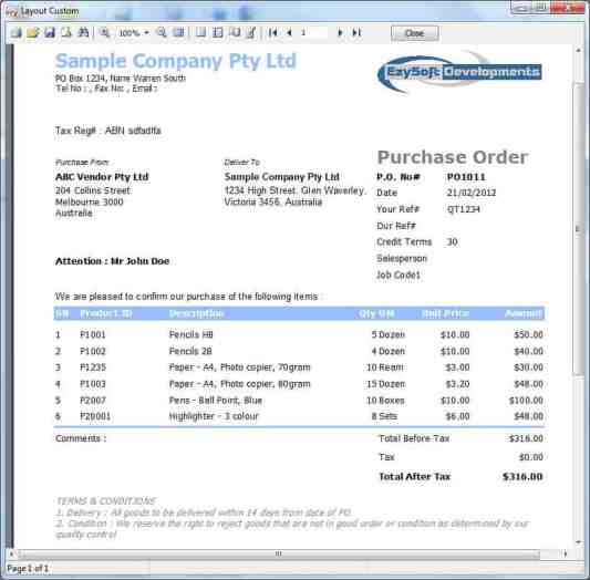 Purchase Order sample 49741