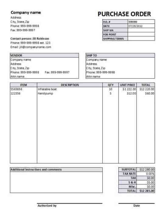 Purchase Order sample 6941
