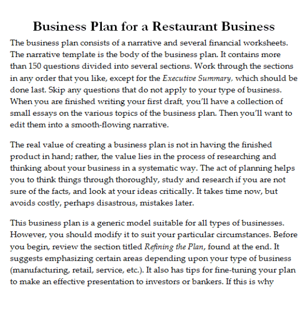 Free Restaurant Business Plan Templates In Word Excel PDF - Generic business plan template