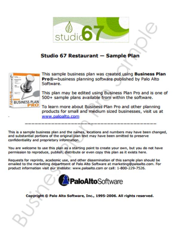 Restaurant Business Plan Template 49741