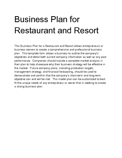 Restaurant Business Plan example 4941