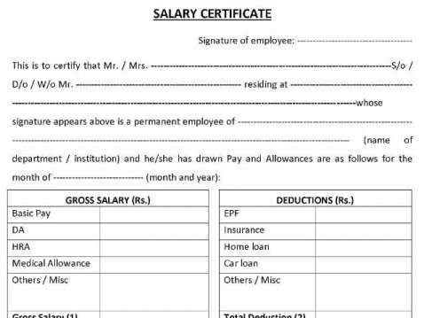 21 free salary certificate template word excel formats salary certificate sampe 141 altavistaventures Images