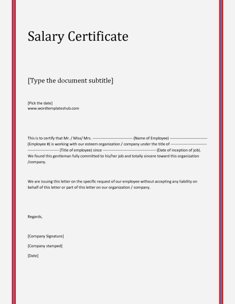 21 free salary certificate template word excel formats salary certificate sampe 39641 clip yadclub Images