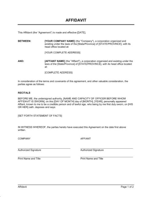 affidavit form template 10.9641