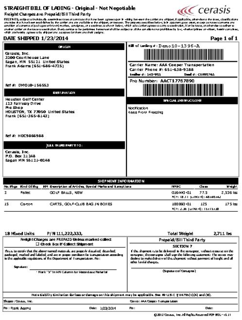 bill of lading sample 19641
