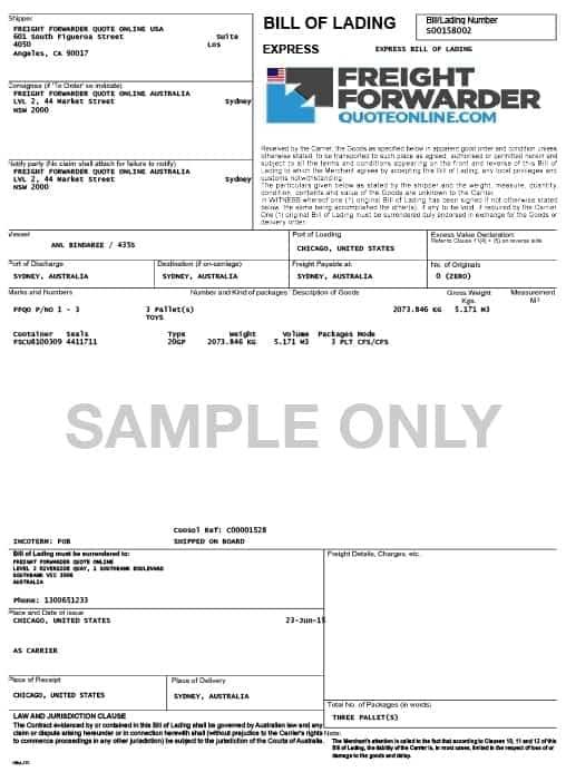 bill of lading sample 49741