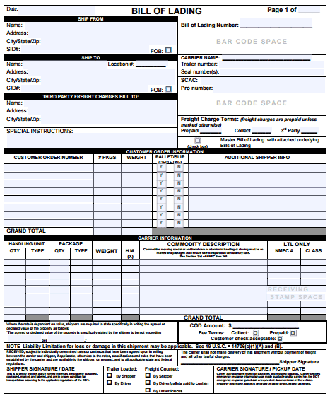 freight bill of lading form