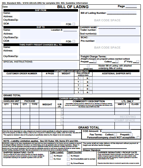 21 Free Bill of Lading Template Word Excel Formats – Bill of Lading Template Word