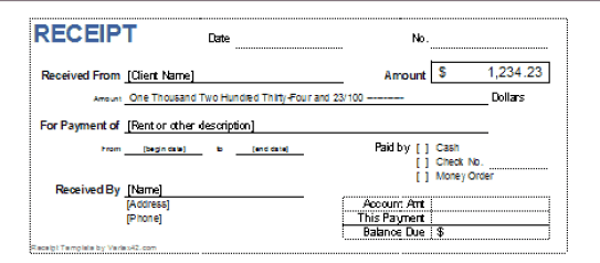 cash receipt template 29741