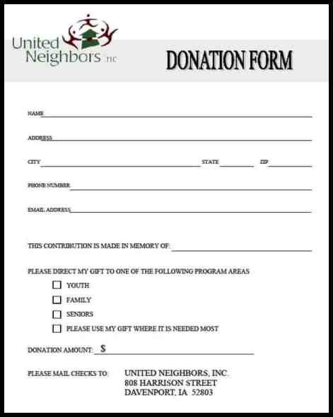 donation form example 7941