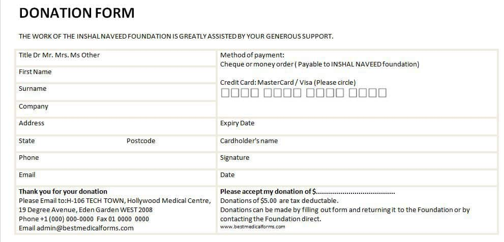 donation card template