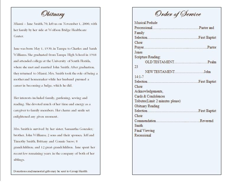 Free Funeral Program Sample 14.64  Funeral Service Template Word