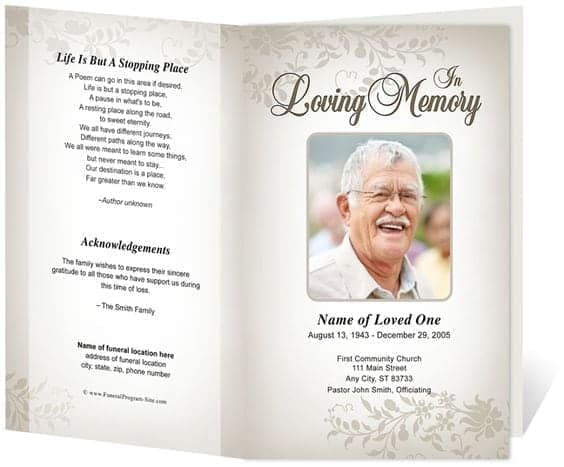 Marvelous Free Funeral Program Sample 7941 On Free Templates For Funeral Programs