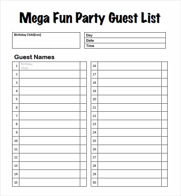 Guest List Example 18.941  Birthday Party Guest List